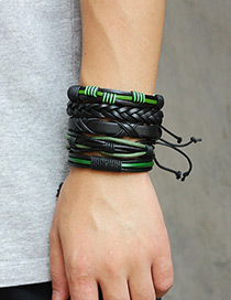 Personality Black Color-matching Decorated Multilayer Bracelet