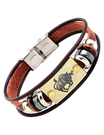 Personality Brown Taurus Decorated Multilayer Bracelet