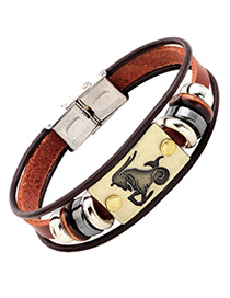 Personality Brown Capricorn Decorated Multilayer Bracelet