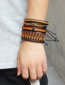 Personality Brown Color-matching Decorated Multilayer Braceles