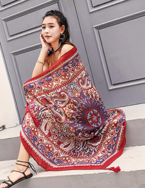 Fashion Red Printing Flower Decorated Scarf