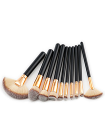 Fashion Gray Fan Shape Decorated Brushes (10pcs)