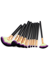 Fashion Black Fan Shape Decorated Brushes (10pcs)