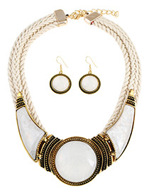 Exaggerated White Hand-woven Design Short Chain Jewelry Sets