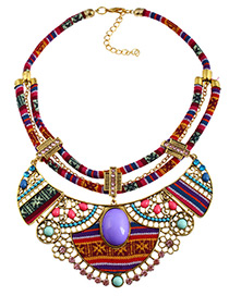 Bohemia Multi-color Hollow Out Decorated Necklace