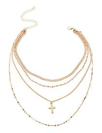 Elegant Gold Color Cross Shape Decorated Multilayer Necklace