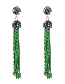 Bohemia Green Round Shape Decorated Long Tassel Earrings