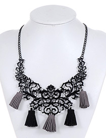Vintage Black Hollow Out Decorated Tassel Necklace