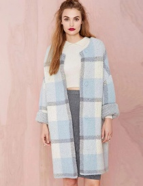 Fashion Light Blue Color-matching Decorated Coat