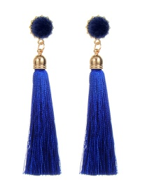 Fashion Sapphire Blue Fuzzy Ball Decorated Tassel Earrings