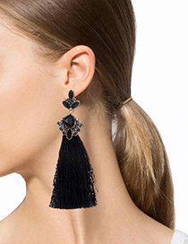 Bohemia Black Oval Shape Diamond Decorated Tassel Earrings