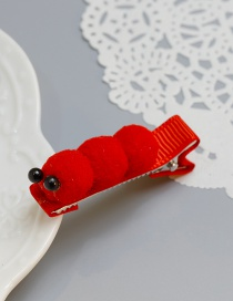 Cute Red Caterpillar Shape Decorated Hairpin