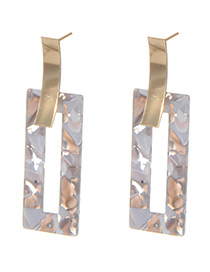 Elegant Gray Square Shape Decorated Earrings