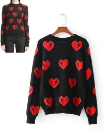 Retro Red Heart Shape Decorated Sweater
