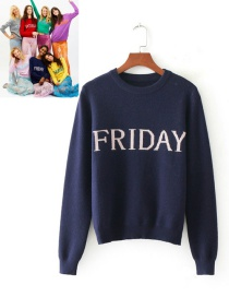 Retro Navy Letter Shape Decorated Sweater
