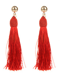 Bohemia Red Pure Color Decorated Tassel Earrings