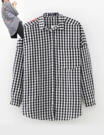 Fashion White+black Color-matching Decorated Shirt