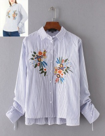 Vintage Blue Embroidery Flower Shape Decorated Shirt