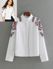 Fashion White Butterfly Shape Decorated Shirt