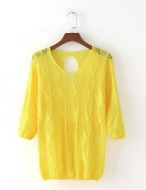 Elegant Yellow Hollow Out Design Blouse