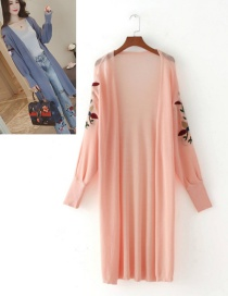 Elegant Pink Embroidery Flower Shape Decorated Long Knitting Cardigan