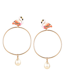 Fashion White+champagne Flamingo Shape Decorated Earrings