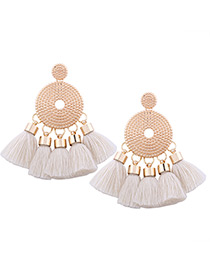 Bohemia White Round Shape Decorated Tassel Earrings
