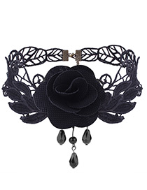 Vintage Black Rose Shape Decoratedlace Choker