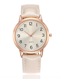 Elegant White Number Decorated Pu Strap Watch