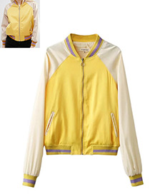 Fashion Yellow Pure Color Decorated Jacket