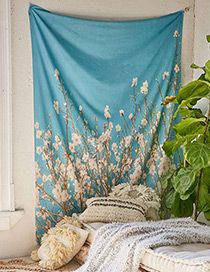 Fashion Blue Flower Pattern Decorated Blanket