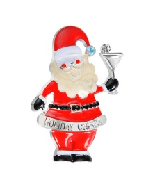 Lovely Red Santa Claus Shape Decorated Christmas Brooch