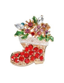 Lovely Red Sock Shape Decorated Brooch