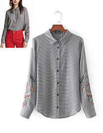 Fashion Gray Embroidery Flower Shape Decorated Shirt