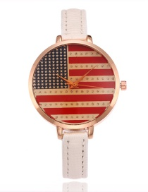 Fashion White Flag Pattern Decorated Watch