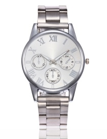 Fashion Silver Color Pure Color Decorated Watch