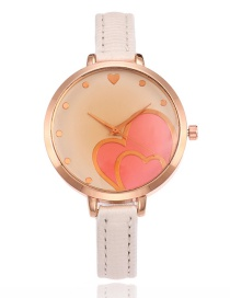 Elegant White Double Heart Shape Decorated Watch