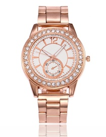 Fashion Rose Gold Round Shape Diamond Decorated Watch