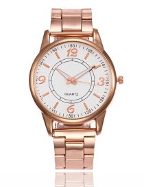 Fashion Rose Gold Pure Color Decorated Watch