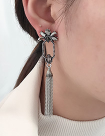 Fashion Silver Color+gray Tassel Decorated Earrings