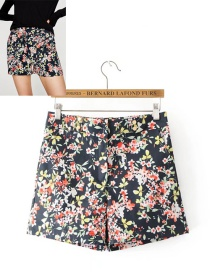 Fashion Multi-color Flower Pattern Decorated Short