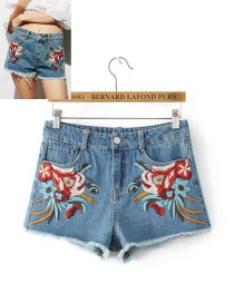 Fashion Blue Flower Pattern Decorated Shorts