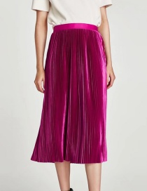 Fashion Plum Red Pure Color Decorated Skirt