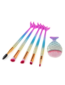 Fashion Gold Color+pink+blue Mermaid Shape Decorated Makeup Brush ( 6pcs)
