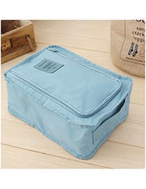 Fashion Blue Pure Color Decorated Storage Bag