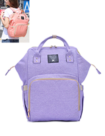 Fashion Purple Pure Color Decorated Backpack