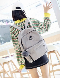 Fashion Light Gray Pom Ball Decorated Backpack