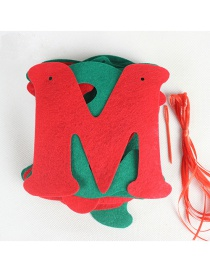 Fashion Red+green Letter Pattern Decorated Christmas Ornaments(8pcs)