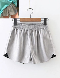 Fashion Silver Color Pure Color Decorated Shorts