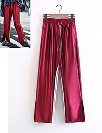 Fashion Claret Red Pure Color Decorated Trousers